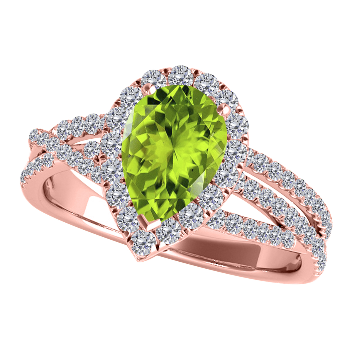 2.15 Carat Diamond and Pear Shaped Peridot Ringsets for girls or Women9 cushion-cut rose-gold 10K Rose Gold 4-prong this is the lovely gift for anniversary
