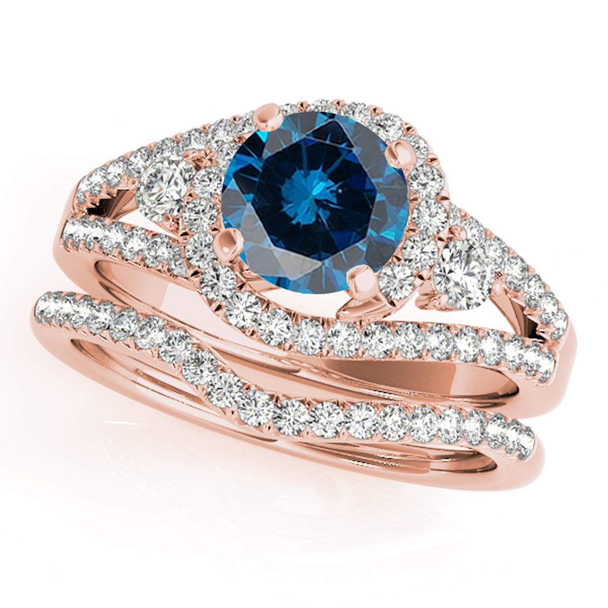 2 Ct Halo Blue Diamond Engagement Rings – Bridal Set – 14K Gold