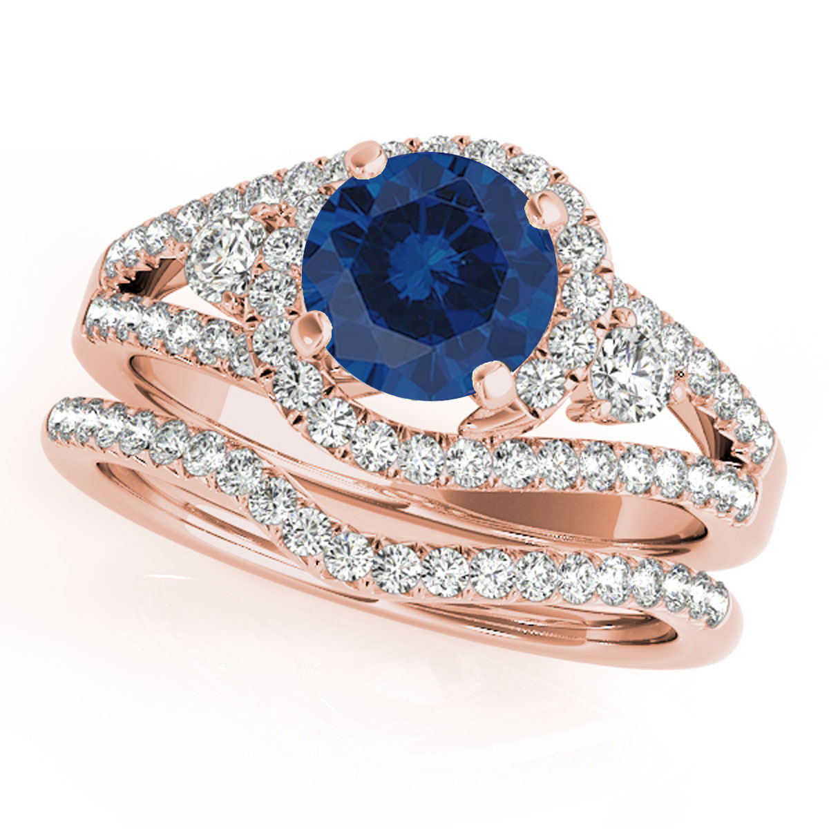 1.80 Ct Sapphire & Diamond Engagement Rings – Bridal Set – 14K Gold