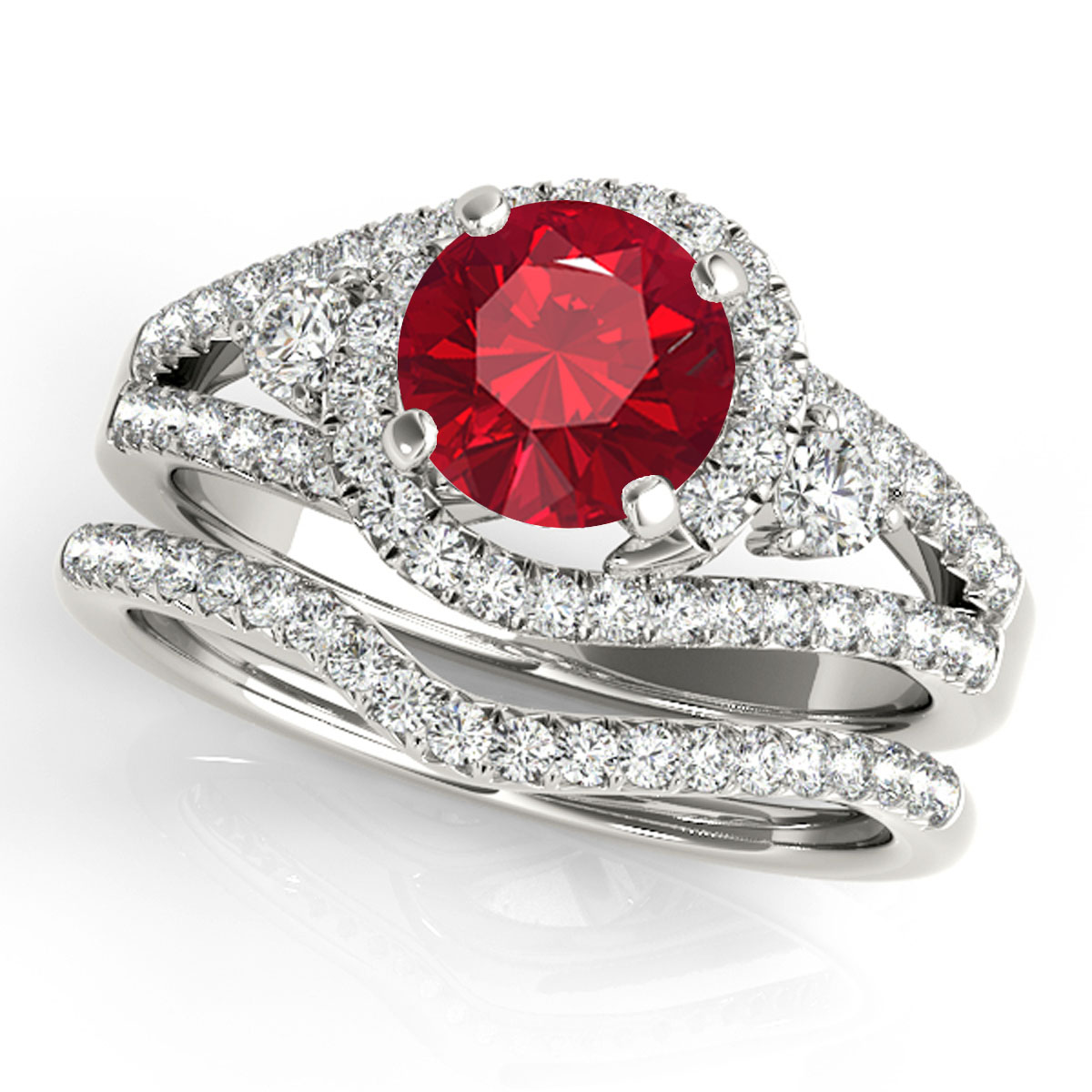 1.80 Ct Created Ruby & Diamond Engagement Rings – Bridal Set – 14K Gold