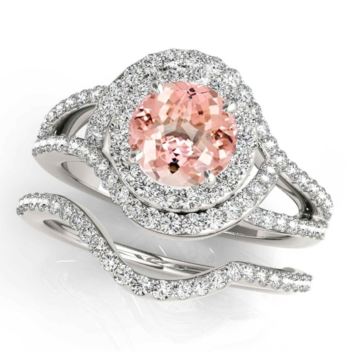 1.85 Ct Halo Split Shank Interwined Design Morganite & Diamond Bridal Set – 14K Gold