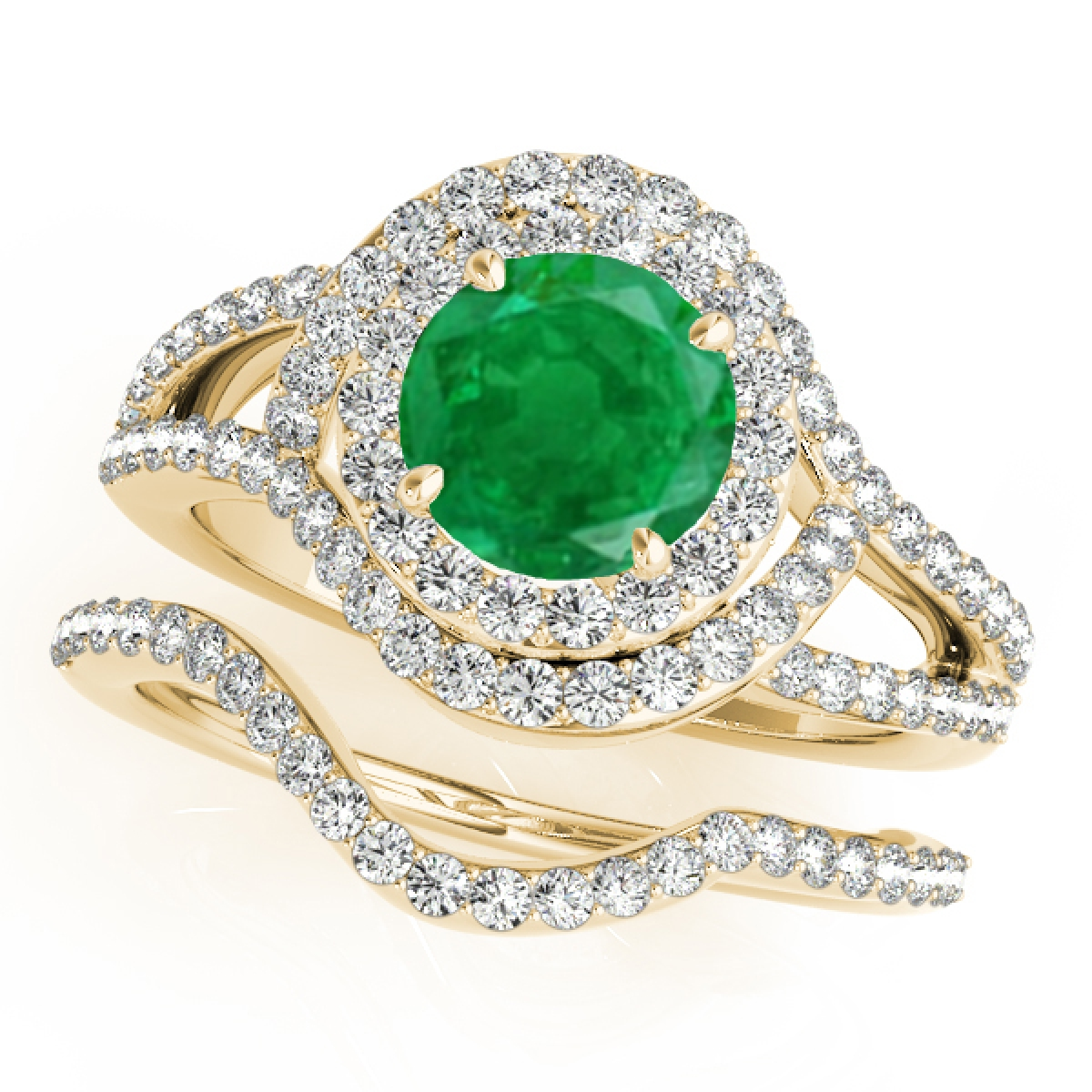 1.85 Ct Halo Split Shank Interwined Design Emerald & Diamond Bridal Set – 14K Gold