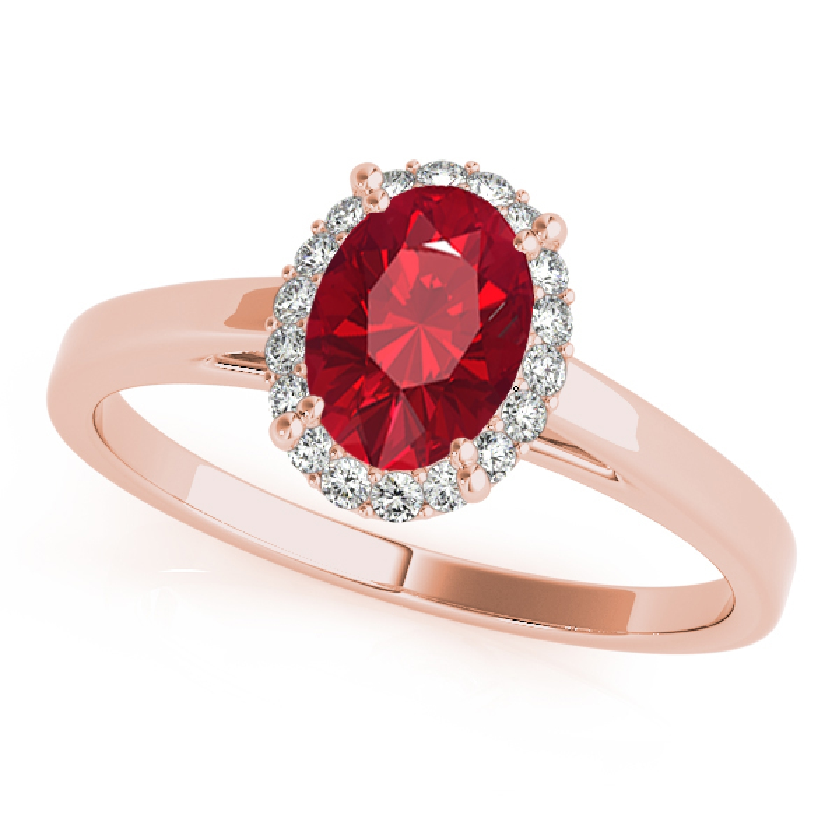 0.55 Ct. Diamond & Oval Shaped Created Ruby Ring For Women- 10K Gold