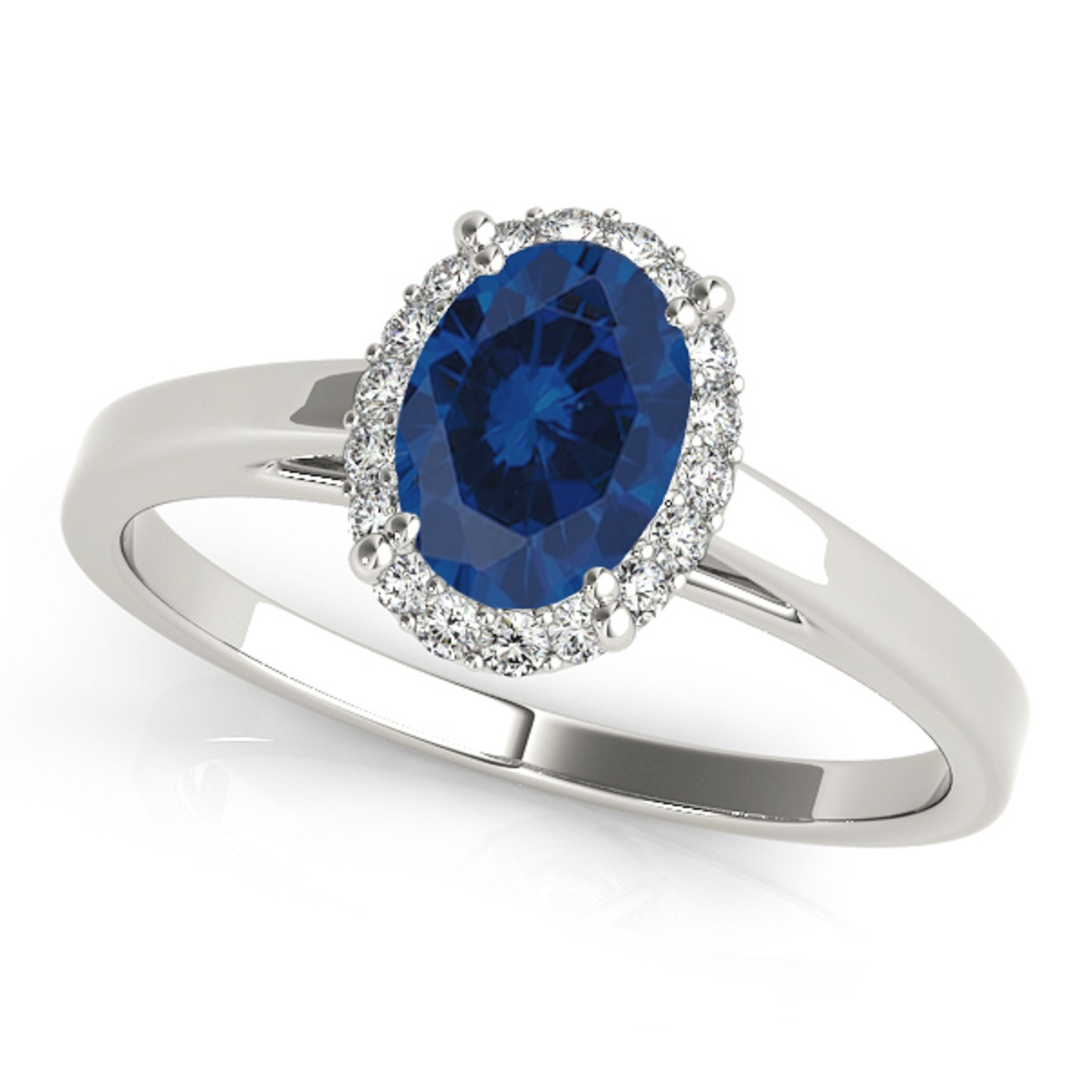 0.55 Ct. Diamond & Oval Shaped Sapphire Engagement Ring -10K Gold