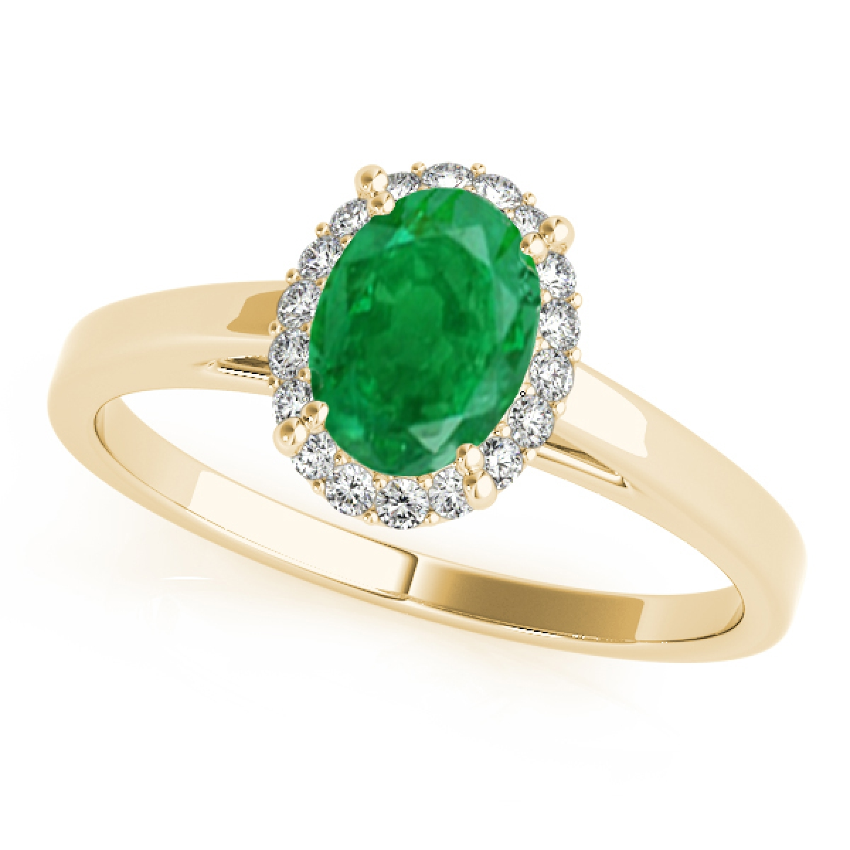 0.55 Ct. Diamond & Oval Shaped Emerald Engagement Ring -10K Gold