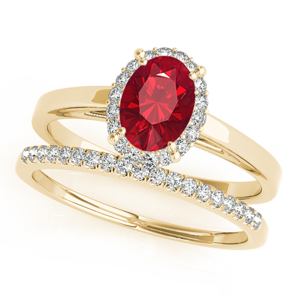 0.70 Ct. Created Ruby & Diamond Bridal Ring Set In 10K Gold