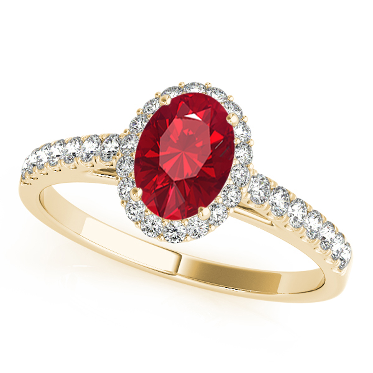 0.70 Ct. Diamond & Oval Shaped Created Ruby Ring -10K Gold