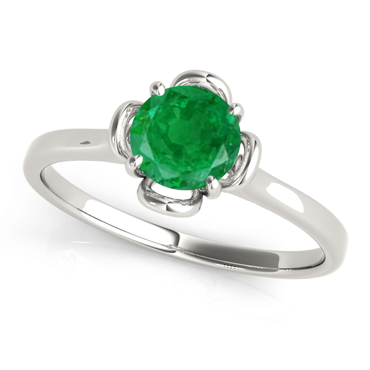 0.45 Ct.Flower Shaped Emerald Ring-Wedding/Engagement Band-10K Gold