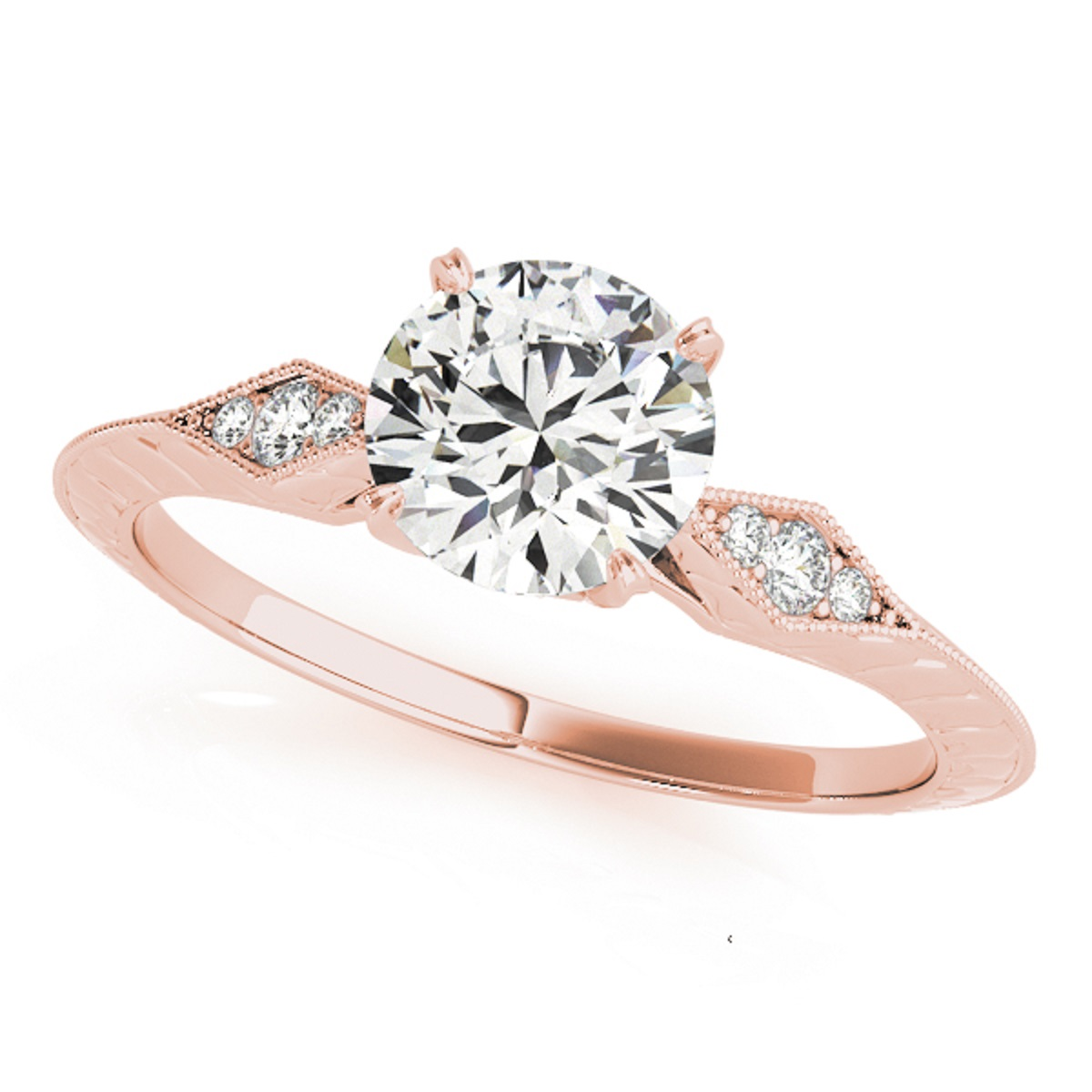 3/4 Ct. Ttw Wedding Engagement Diamond Ring In 14K Solid Rose Gold (4.5)