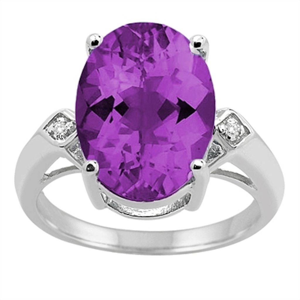 0.01 Carat 14×10 MM Amethyst and Diamond Ring in 10K White Gold
