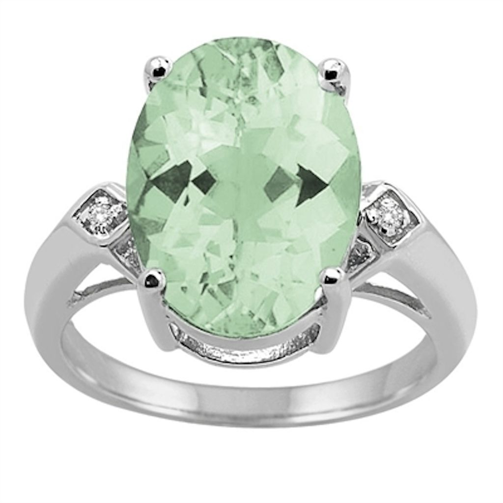 0.01 Carat 14×10 MM Green Amethyst and Diamond Ring in 10K White Gold