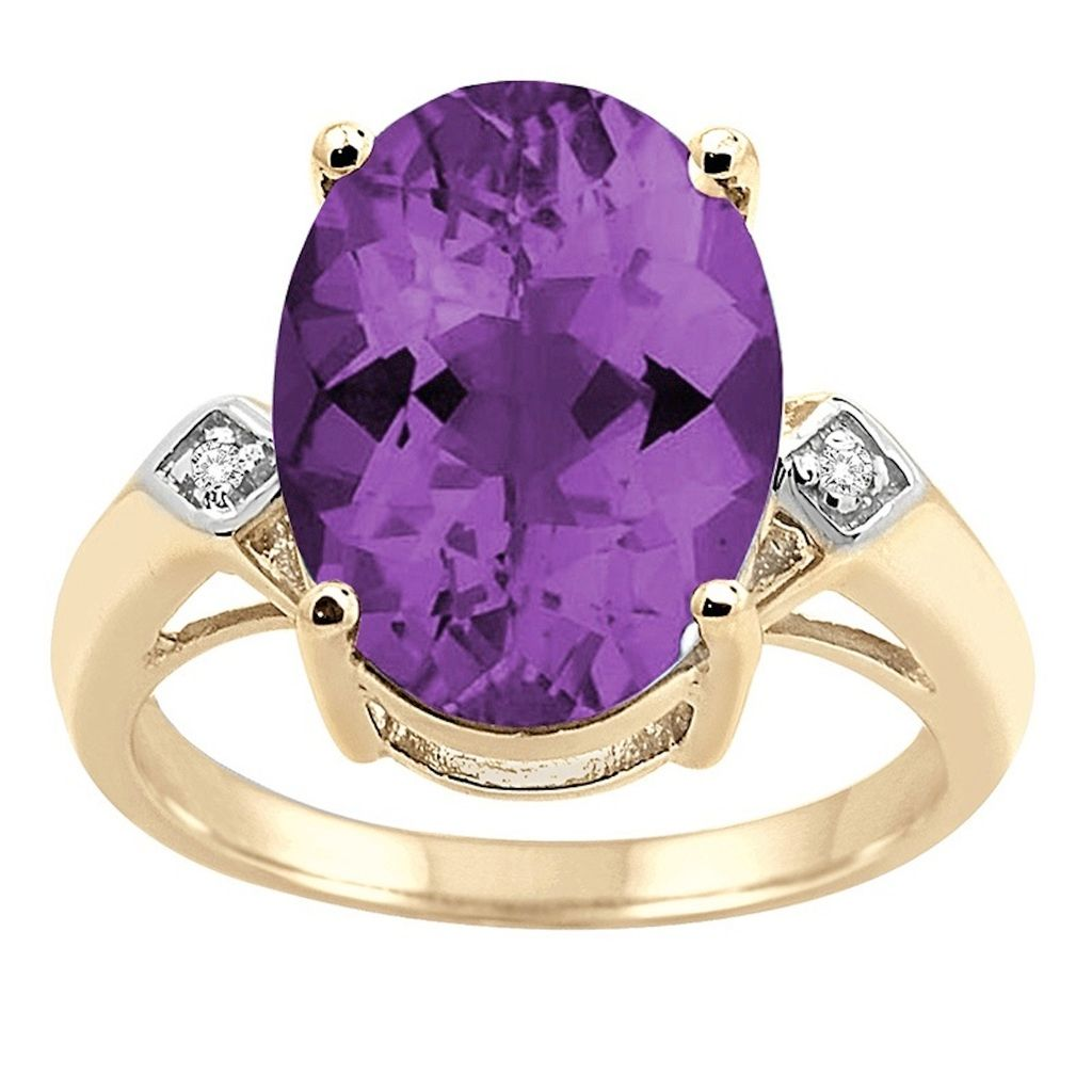 0.01 Carat 14×10 MM Amethyst and Diamond Ring in 10K Yellow Gold