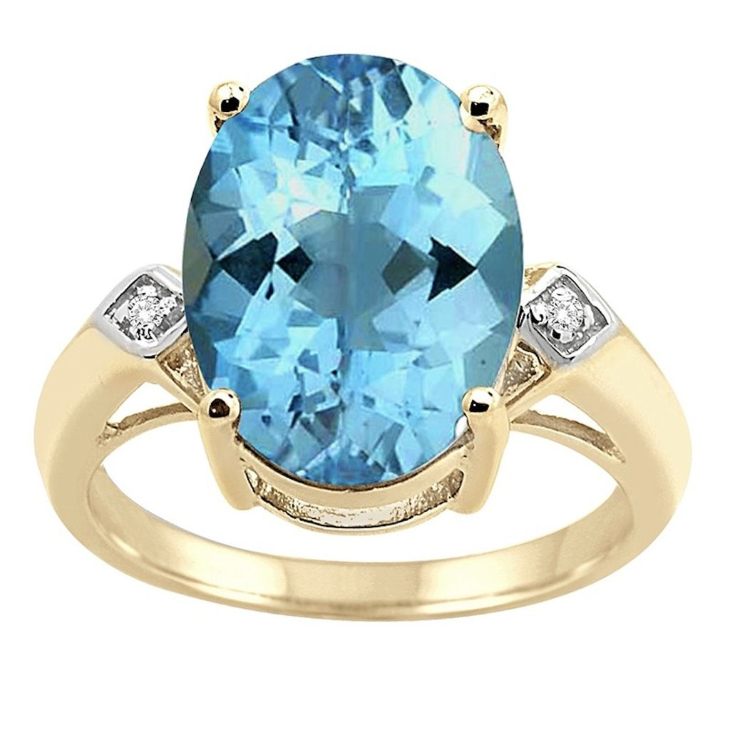 0.01 Carat 14×10 MM Blue Topaz and Diamond Ring in 10K Yellow Gold