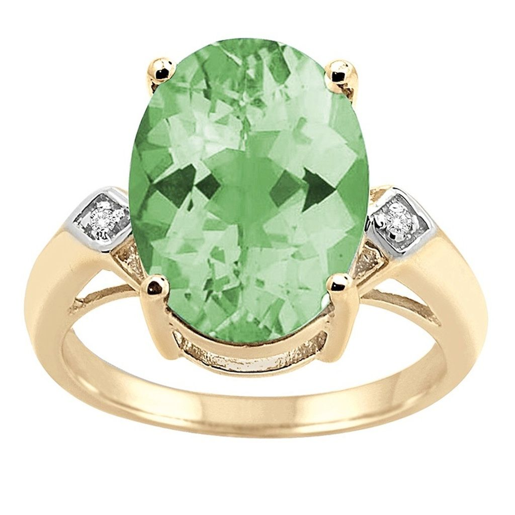 0.01 Carat 14×10 MM Green Amethyst and Diamond Ring in 10K Yellow Gold