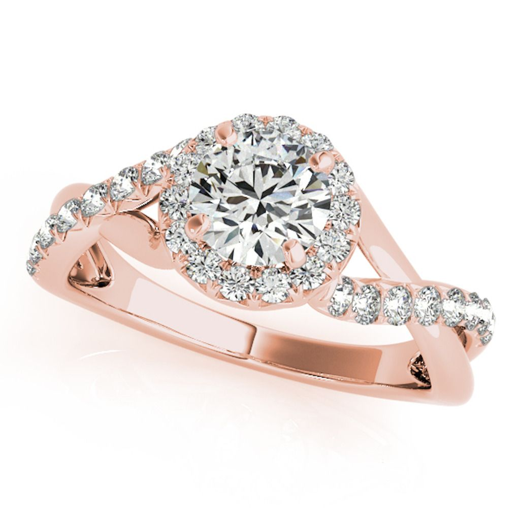 0.50 Ct Halo Round Engagement Diamond Ring In 14k Solid Rose Gold