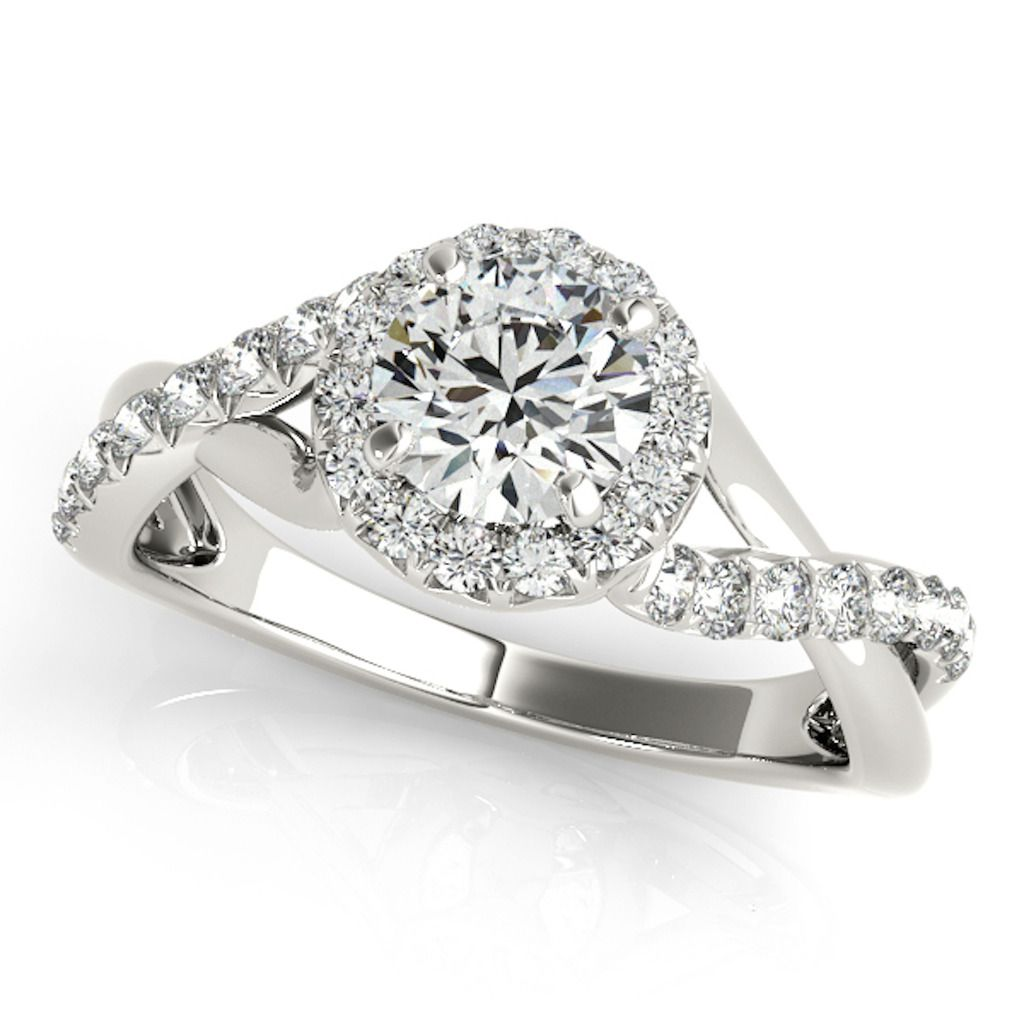 0.50 Ct Halo Round Engagement Diamond Ring In 14k Solid White Gold