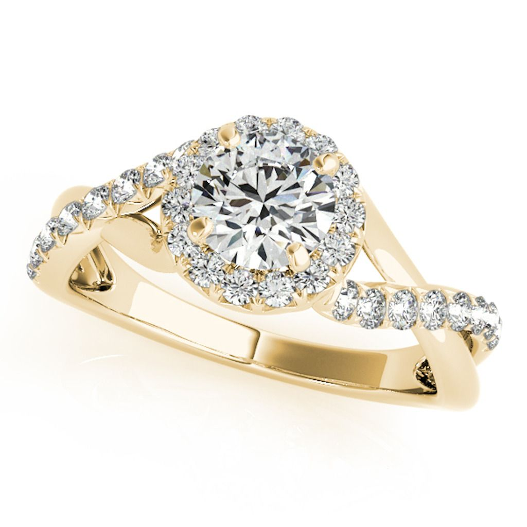 0.50 Ct Halo Round Engagement Diamond Ring In 14k Solid Yellow Gold
