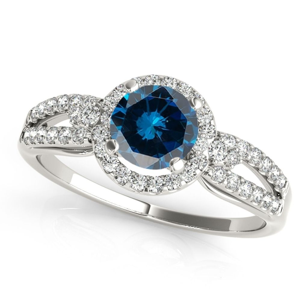 1.20 Ct. Halo Blue Diamond Engagement Wedding Ring In 14k Solid White Gold
