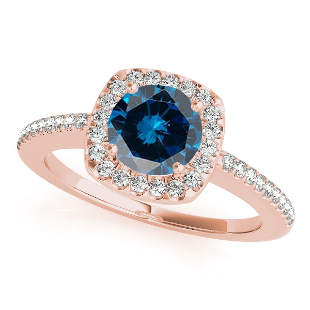 1.20 Ct. Halo Blue Diamond Engagement Wedding Ring In 14k Solid Rose Gold