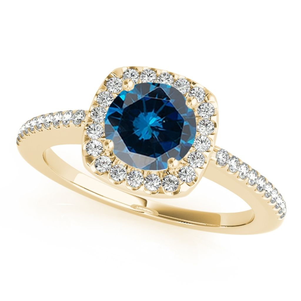 1.20 Ct. Halo Blue Diamond Engagement Wedding Ring In 14k Solid Yellow Gold