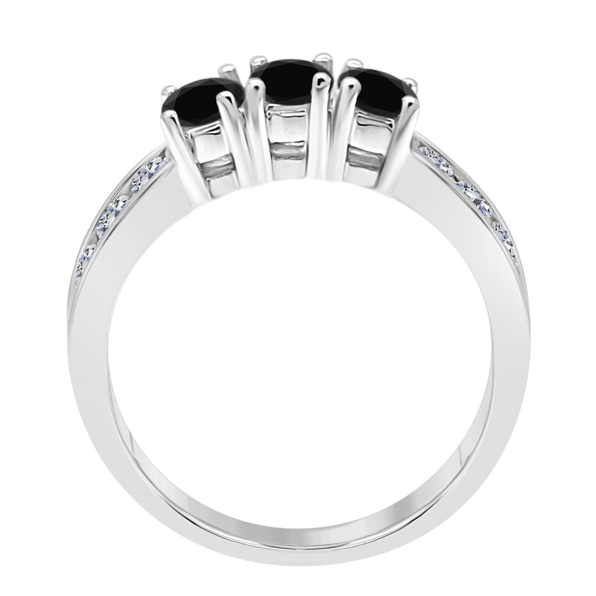 Black Three Stone And Natural Round White Diamond sets for girls or Women Black diamond Seniors Round Solid 10k 4 Prong-Setting this is the lovely gift for anniversary