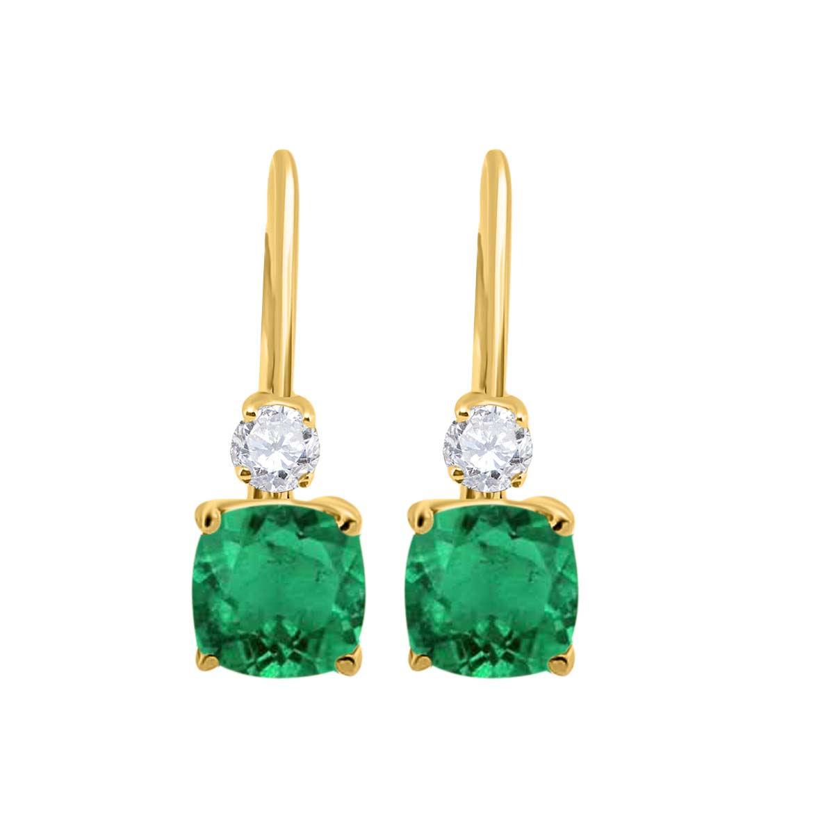 2.65 Carat. Cushion Cut Gemstone And Diamond Leverback Earrings sets for girls or Women Emerald 14K Yellow Gold 4 Prong-Setting Cushion adultsthis is the lovely gift for anniversary