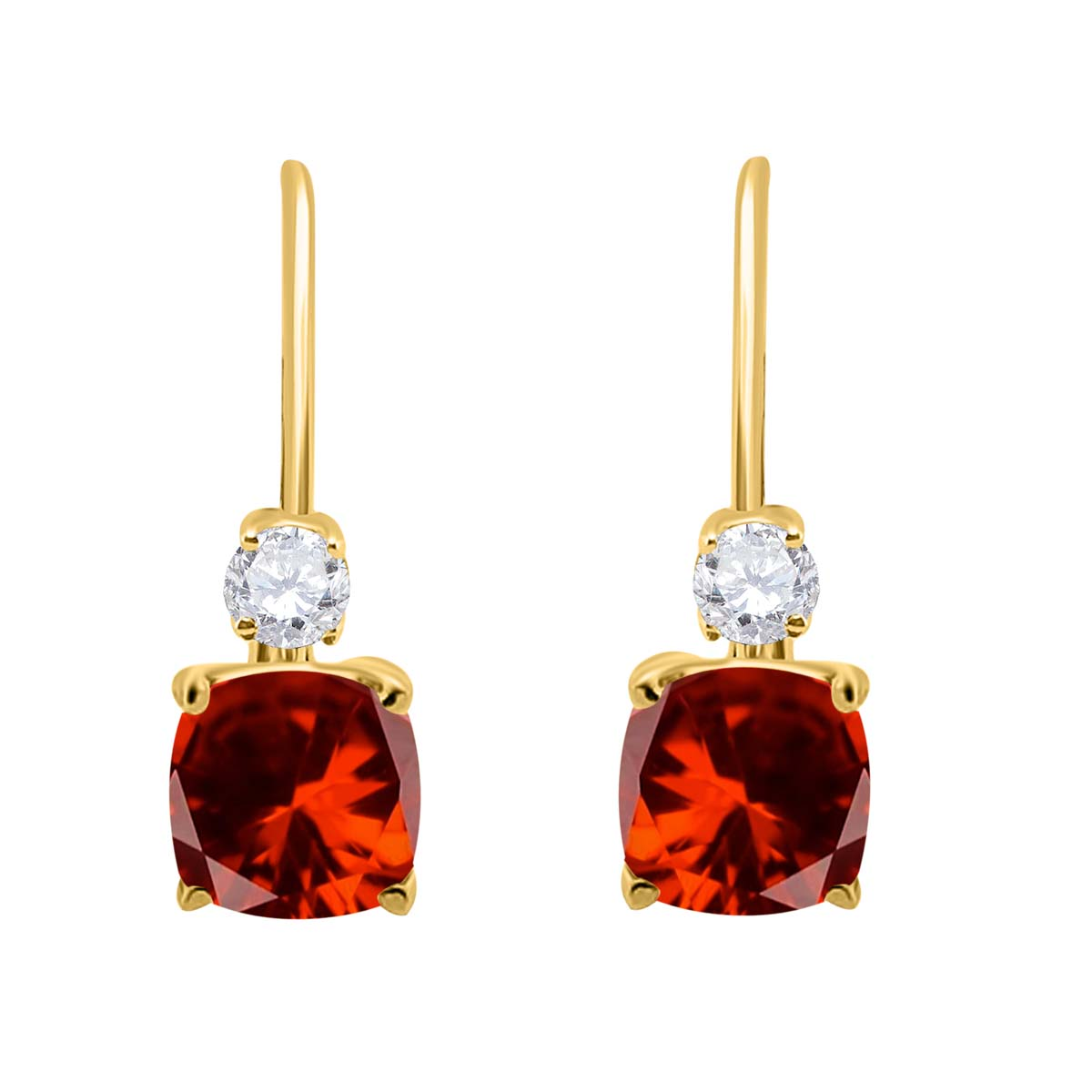 2.65 Carat. Cushion Cut Gemstone And Diamond Leverback Earrings sets for girls or Women Garnet 14K Yellow Gold 4 Prong-Setting Cushion adultsthis is the lovely gift for anniversary