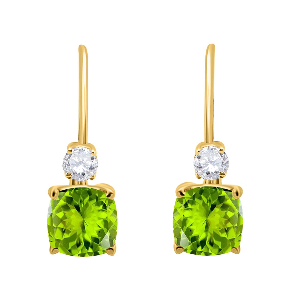 2.65 Carat. Cushion Cut Gemstone And Diamond Leverback Earrings sets for girls or Women Peridot 14K Yellow Gold 4 Prong-Setting Cushion adultsthis is the lovely gift for anniversary