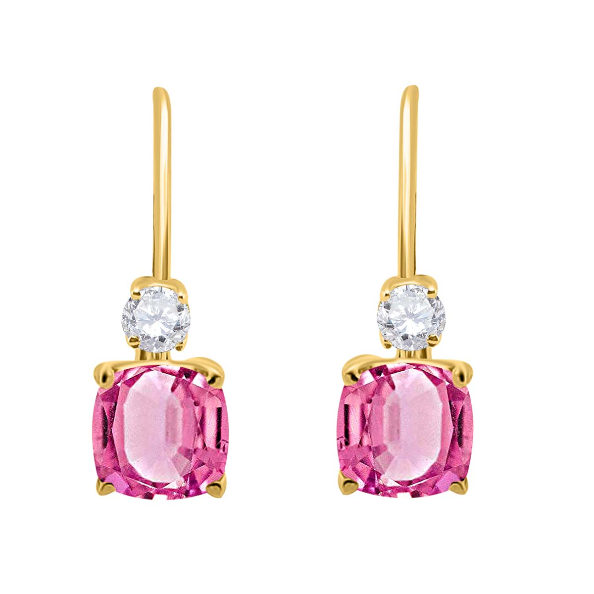 2.65 Carat. Cushion Cut Gemstone And Diamond Leverback Earrings sets for girls or Women Pink Topaz 14K Yellow Gold 4 Prong-Setting Cushion adultsthis is the lovely gift for anniversary