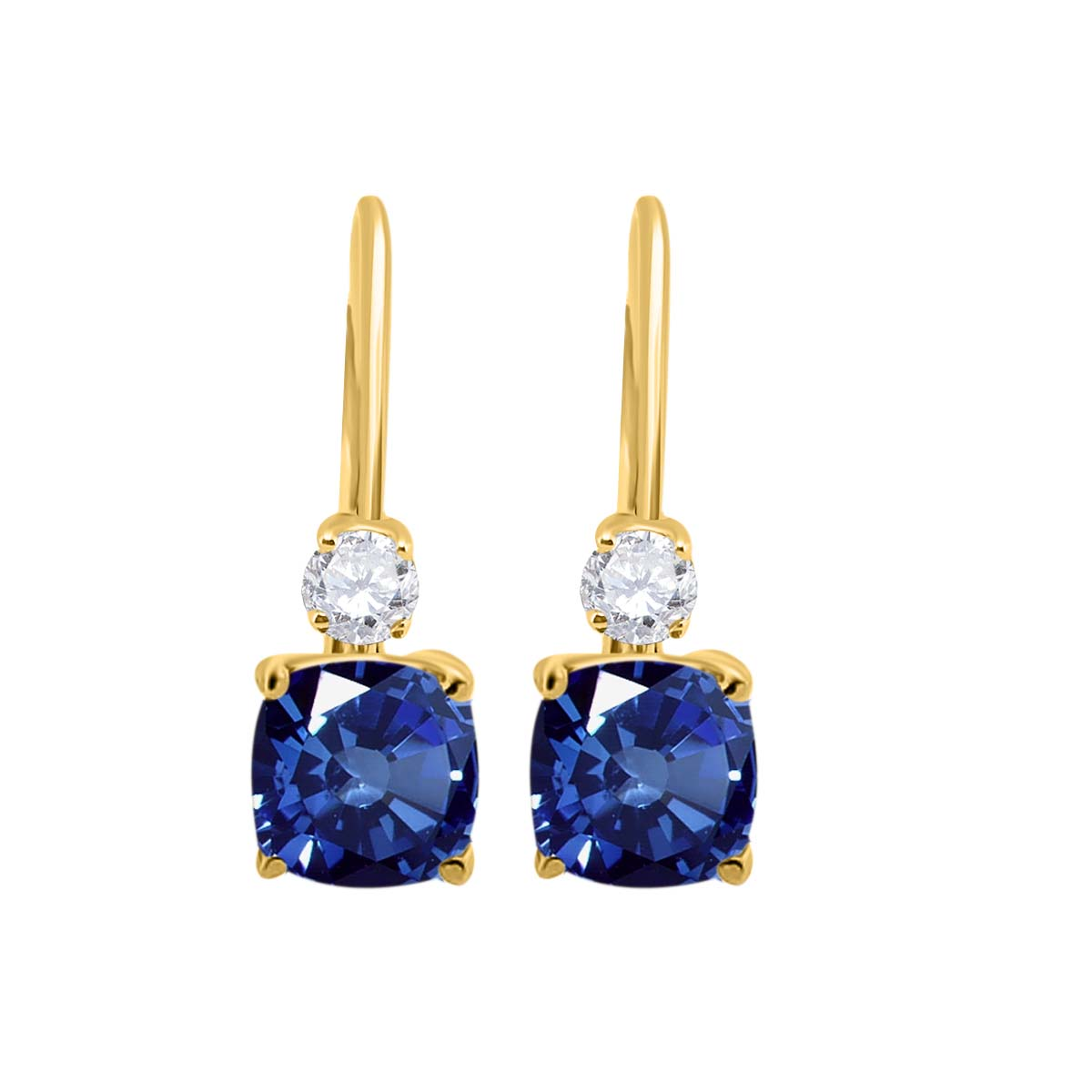 2.65 Carat. Cushion Cut Gemstone And Diamond Leverback Earrings sets for girls or Women Sapphire 14K Yellow Gold 4 Prong-Setting Cushion adultsthis is the lovely gift for anniversary