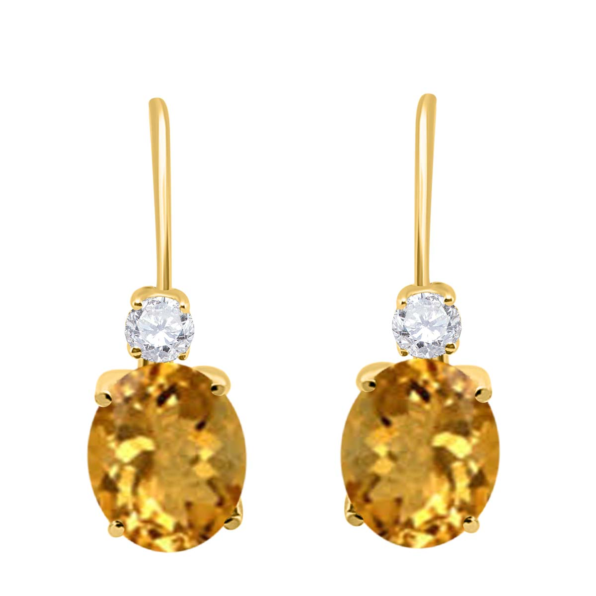 2.7 Carat 8×6 Gemstone And Diamond Leverback Earrings sets for girls or Women Citrine 14K Yellow Gold 4 Prong-Setting Oval adultsthis is the lovely gift for anniversary