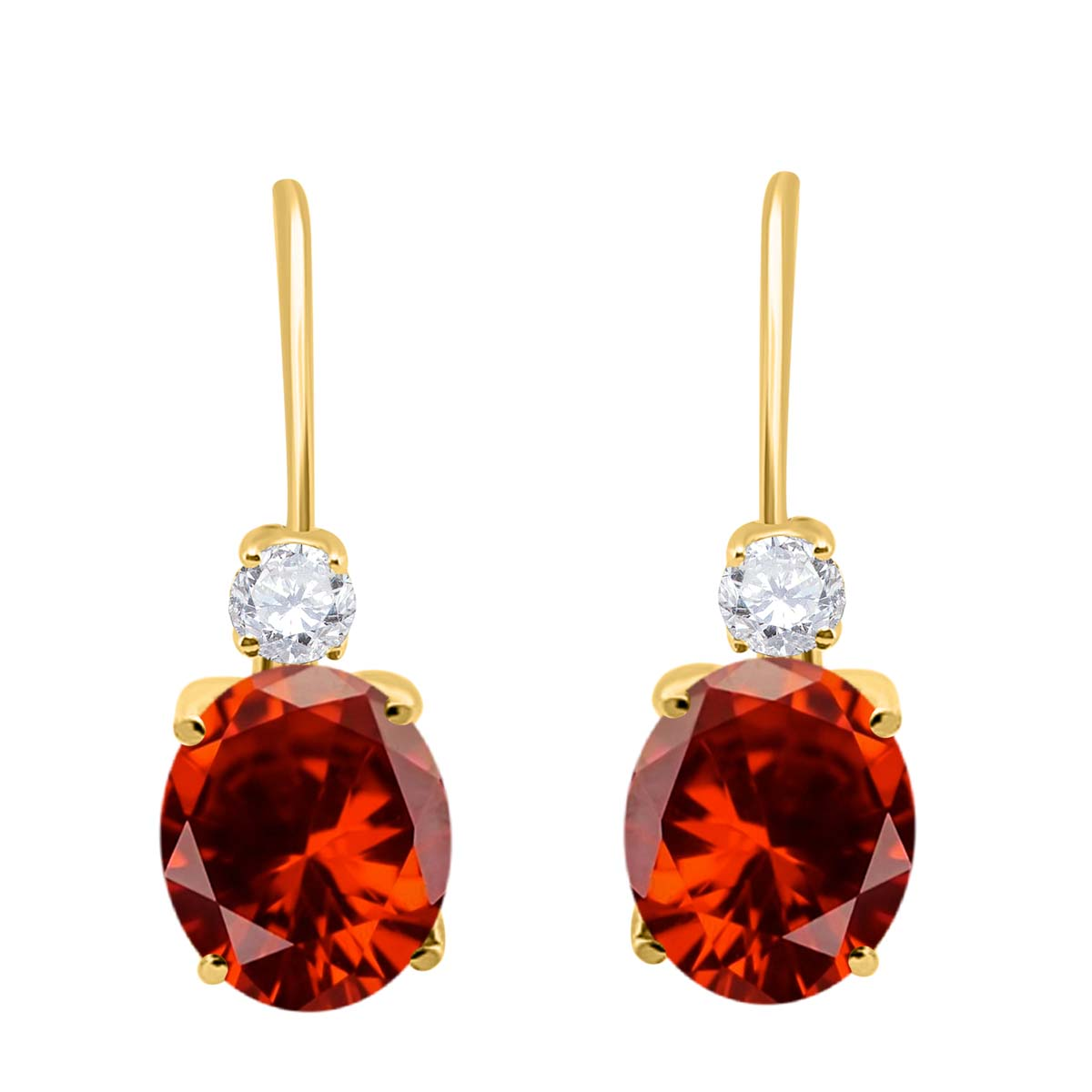 2.7 Carat 8×6 Gemstone And Diamond Leverback Earrings sets for girls or Women Garnet 14K Yellow Gold 4 Prong-Setting Oval adultsthis is the lovely gift for anniversary