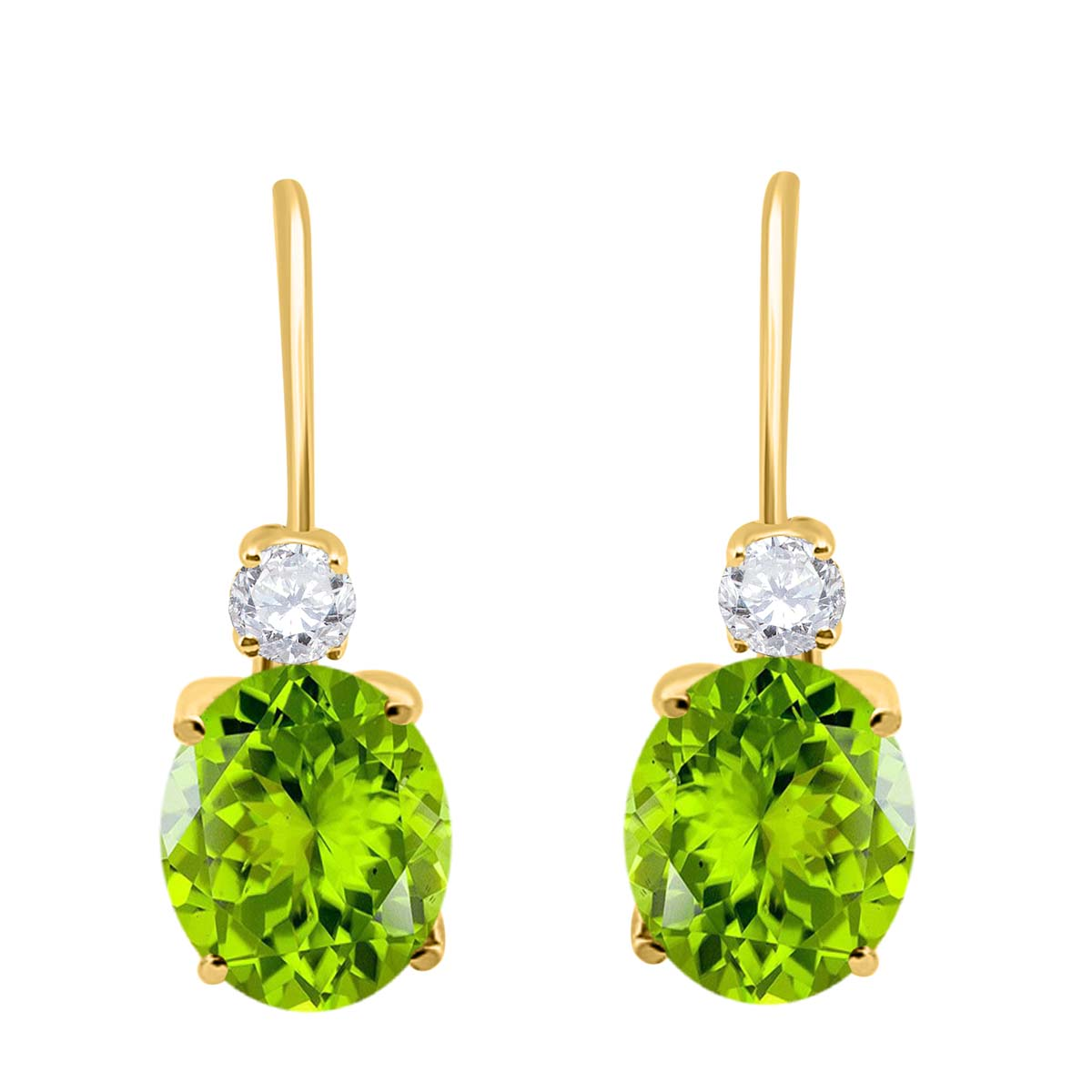 2.7 Carat 8×6 Gemstone And Diamond Leverback Earrings sets for girls or Women Peridot 14K Yellow Gold 4 Prong-Setting Oval adultsthis is the lovely gift for anniversary